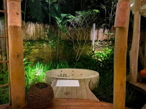 The bathtub is surrounded by the trees