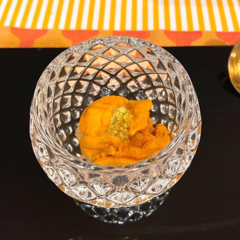 Sea urchin is sprinkled with Gold dust.